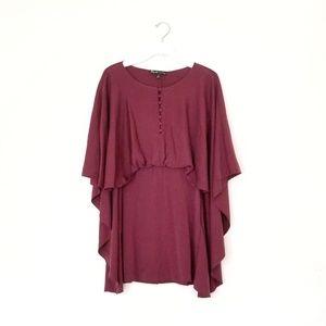E+J Maroon Drape Tunic dress